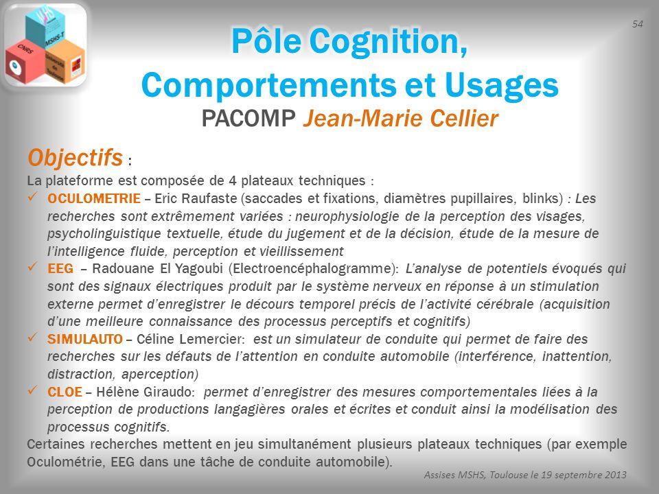 54 Assises MSHS, Toulouse le 19 septembre 2013 PACOMP Jean-Marie Cellier Objectifs : La plateforme est composée de 4 plateaux techniques : OCULOMETRIE
