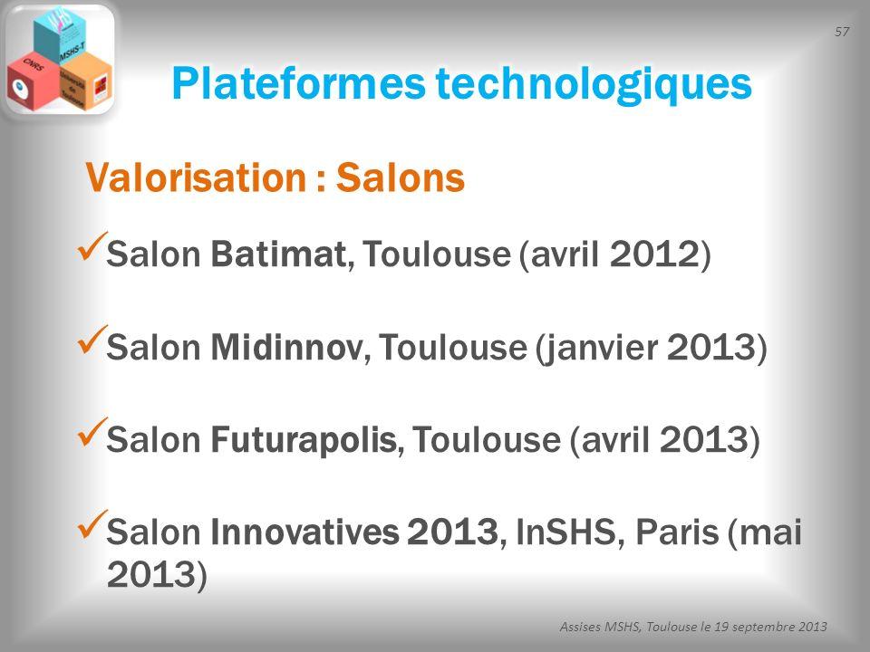 57 Assises MSHS, Toulouse le 19 septembre 2013 Salon Batimat, Toulouse (avril 2012) Salon Midinnov, Toulouse (janvier 2013) Salon Futurapolis, Toulous