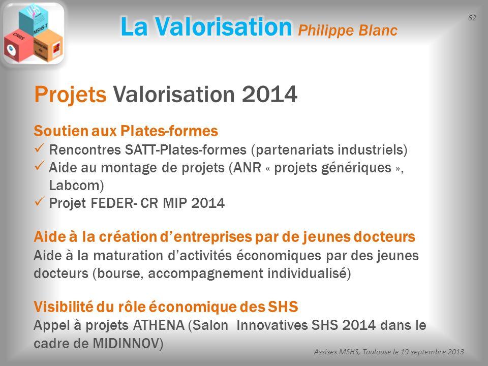 62 Assises MSHS, Toulouse le 19 septembre 2013 Projets Valorisation 2014 Soutien aux Plates-formes Rencontres SATT-Plates-formes (partenariats industr