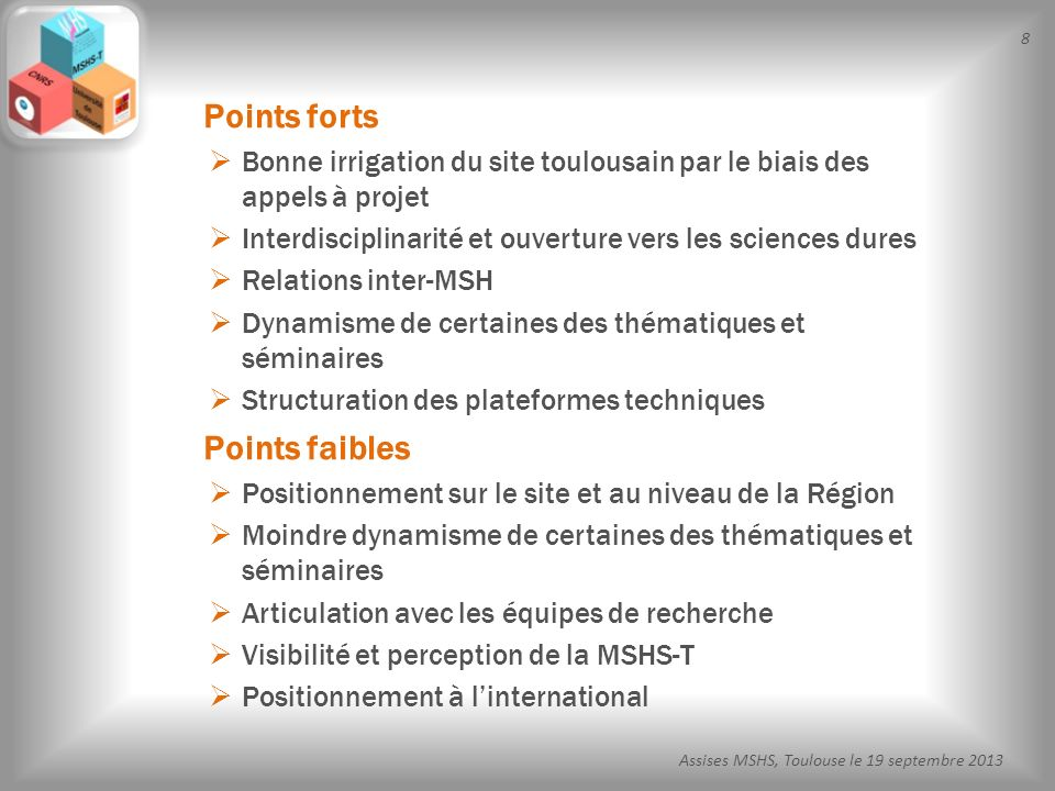 9 Assises MSHS, Toulouse le 19 septembre 2013 le rôle de la MSHS-T sur le site toulousain les programmes scientifiques larticulation avec les autres programmes, type Labex, Idex, et les autres structures fédératives la gouvernance de la MSH et son articulation avec les unités de recherche lorganisation du service de soutien à la recherche et son articulation avec les services propres des Universités