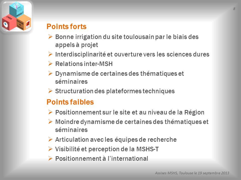 49 Assises MSHS, Toulouse le 19 septembre 2013 TRACES, UMR5608 FRAMESPA, UMR5136 IRIT, UMR5505 LAAS, UPR8001 CLLE, UMR5263 Octogone, EA4156 Unités dadossement