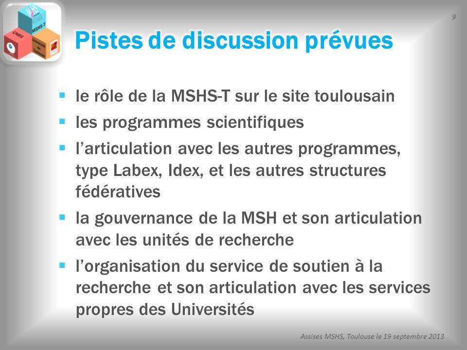 50 Assises MSHS, Toulouse le 19 septembre 2013 principe de labellisation (critères MSHS-T) conseil des plateformes livre blanc articulation avec la labellisation nationale (critères du réseau national des MSH) Formation de lensemble des plateformes Labellisation