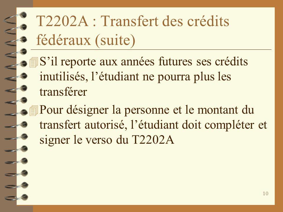 10 T2202A : Transfert des crédits fédéraux (suite) 4 Sil reporte aux années futures ses crédits inutilisés, létudiant ne pourra plus les transférer 4