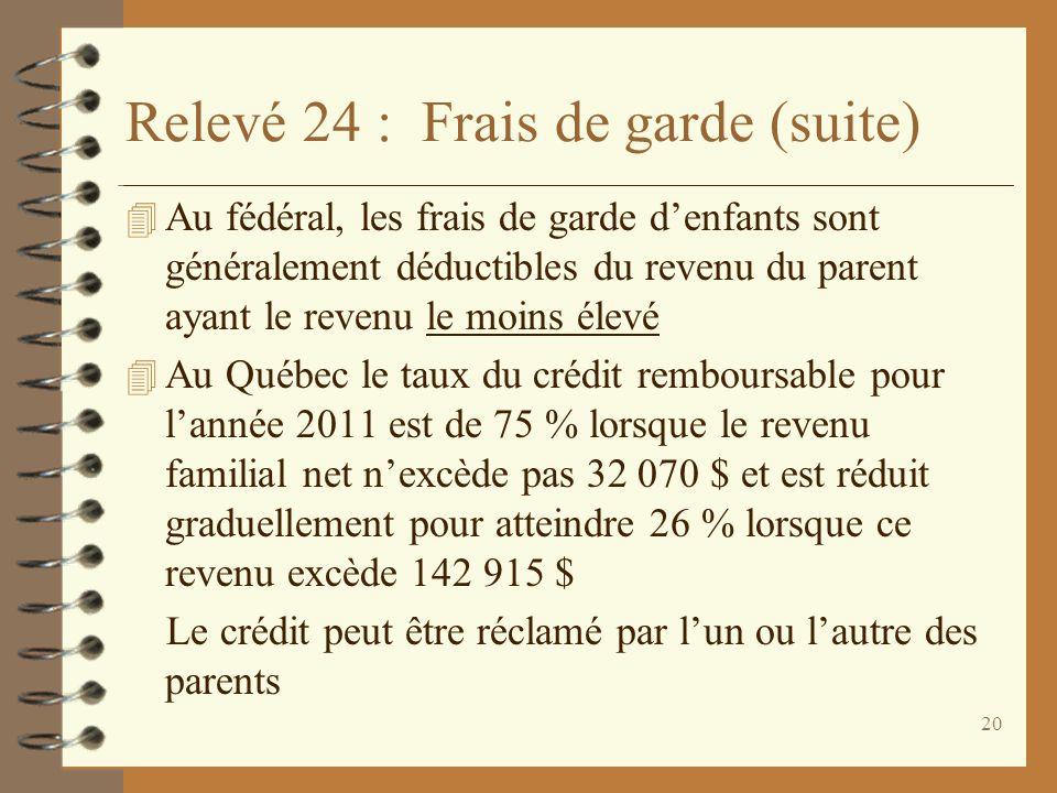 20 Relevé 24 : Frais de garde (suite) 4 Au fédéral, les frais de garde denfants sont généralement déductibles du revenu du parent ayant le revenu le m