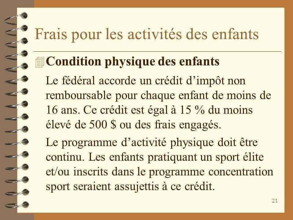 21 Frais pour les activités des enfants 4 Condition physique des enfants Le fédéral accorde un crédit dimpôt non remboursable pour chaque enfant de mo