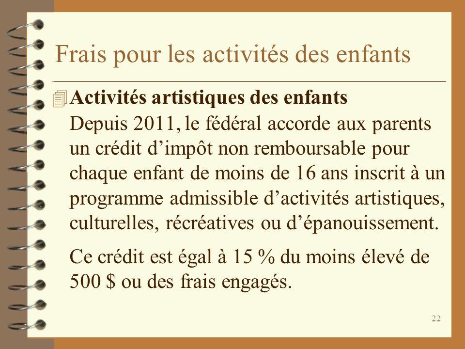 22 Frais pour les activités des enfants 4 Activités artistiques des enfants Depuis 2011, le fédéral accorde aux parents un crédit dimpôt non remboursa
