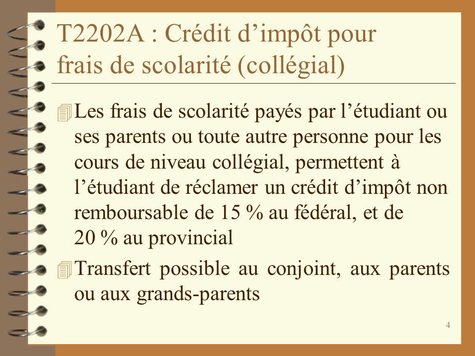 4 T2202A : Crédit dimpôt pour frais de scolarité (collégial) 4 Les frais de scolarité payés par létudiant ou ses parents ou toute autre personne pour