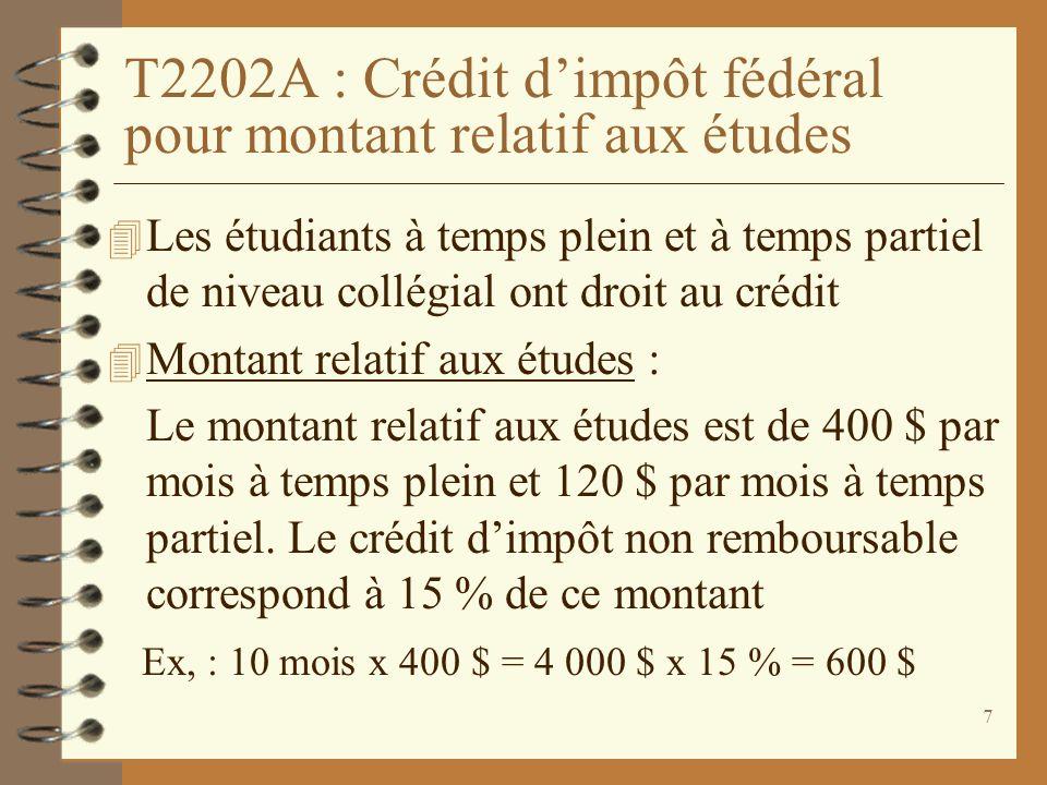 8 T2202A : Crédit dimpôt fédéral pour montant relatif aux études (suite) 4 Montant pour manuels : Le montant pour manuels est de 65 $ par mois détudes à temps plein et de 20 $ par mois à temps partiel.