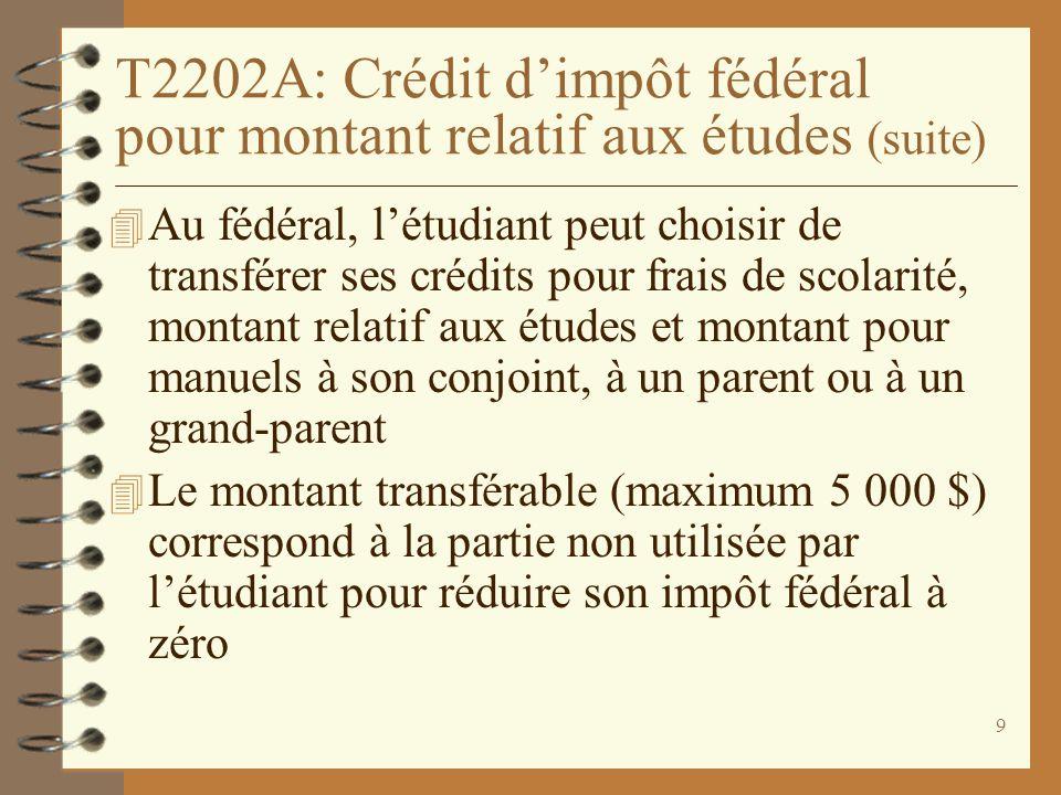 10 T2202A : Transfert des crédits fédéraux (suite) 4 Sil reporte aux années futures ses crédits inutilisés, létudiant ne pourra plus les transférer 4 Pour désigner la personne et le montant du transfert autorisé, létudiant doit compléter et signer le verso du T2202A