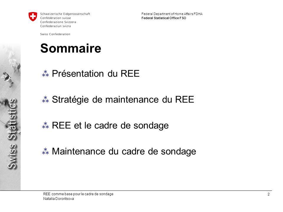 3 REE comme base pour le cadre de sondage Natalia Dorontsova Federal Department of Home Affairs FDHA Federal Statistical Office FSO Le Registre des entreprises et des établissements contient toutes les unités locales et toutes les entreprises qui génèrent une activité économique en Suisse.