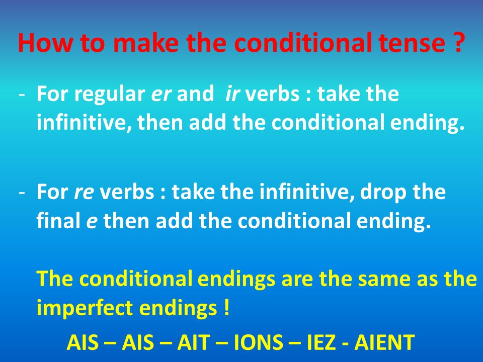 How to make the conditional tense ? -For regular er and ir verbs : take the infinitive, then add the conditional ending. -For re verbs : take the infi