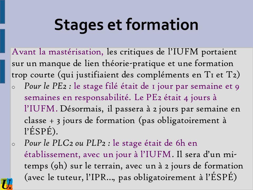 Stages et formation Avant la mastérisation, les critiques de lIUFM portaient sur un manque de lien théorie-pratique et une formation trop courte (qui