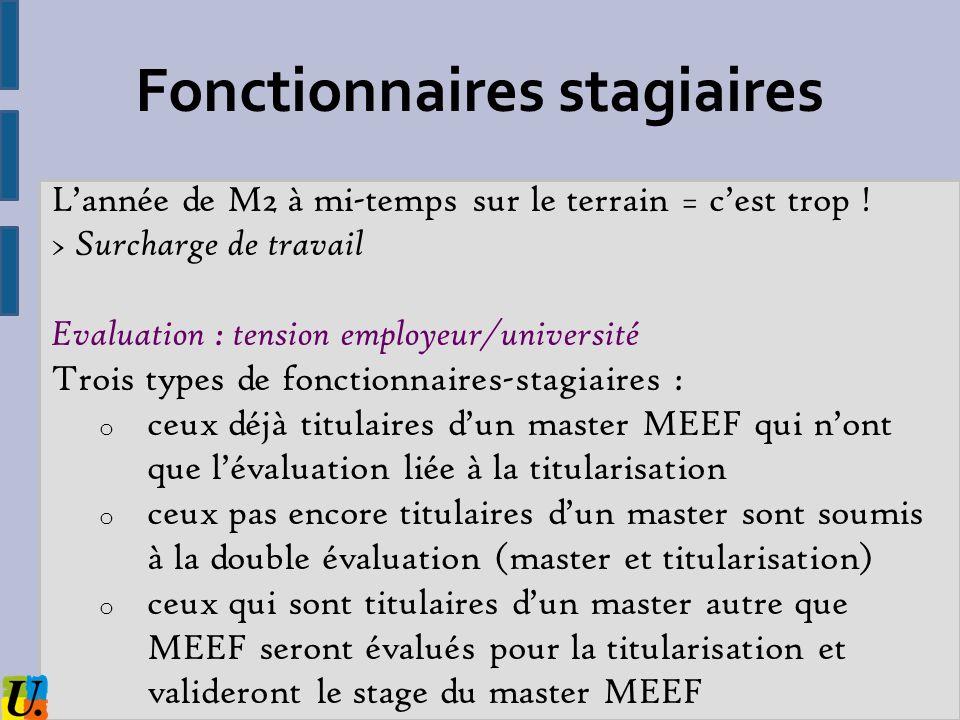 Lannée de M2 à mi-temps sur le terrain = cest trop ! > Surcharge de travail Evaluation : tension employeur/université Trois types de fonctionnaires-st