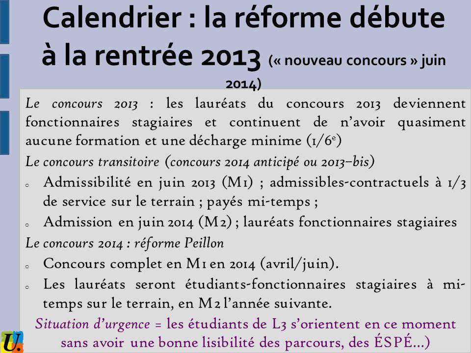 Calendrier : la réforme débute à la rentrée 2013 (« nouveau concours » juin 2014) Le concours 2013 : les lauréats du concours 2013 deviennent fonction