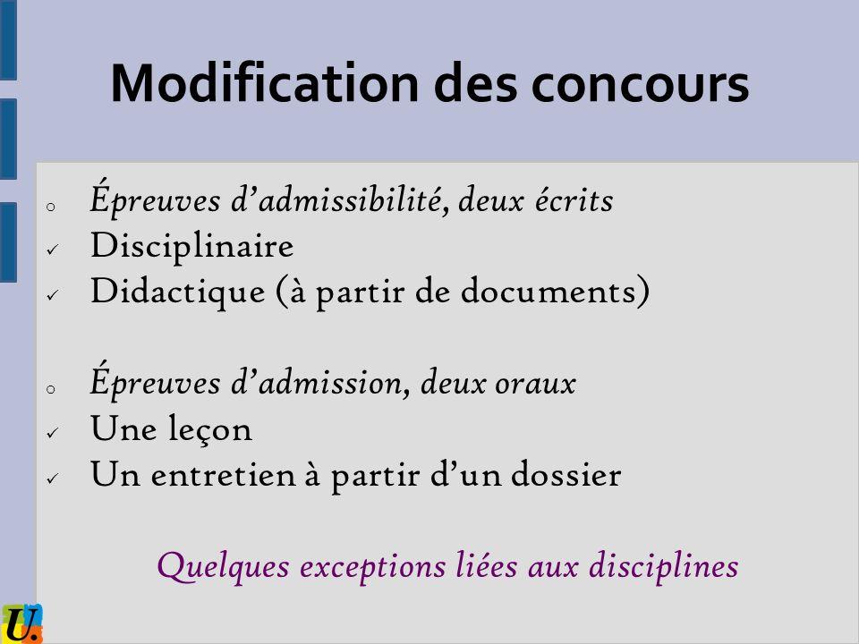 Modification des concours o Épreuves dadmissibilité, deux écrits Disciplinaire Didactique (à partir de documents) o Épreuves dadmission, deux oraux Un