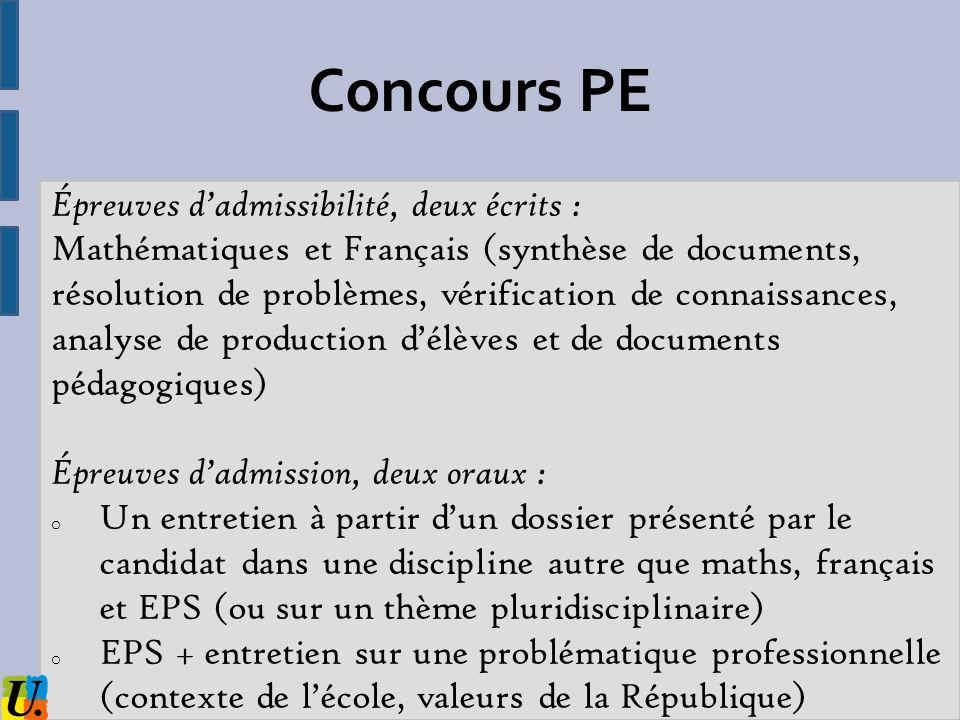 Concours PE Épreuves dadmissibilité, deux écrits : Mathématiques et Français (synthèse de documents, résolution de problèmes, vérification de connaiss