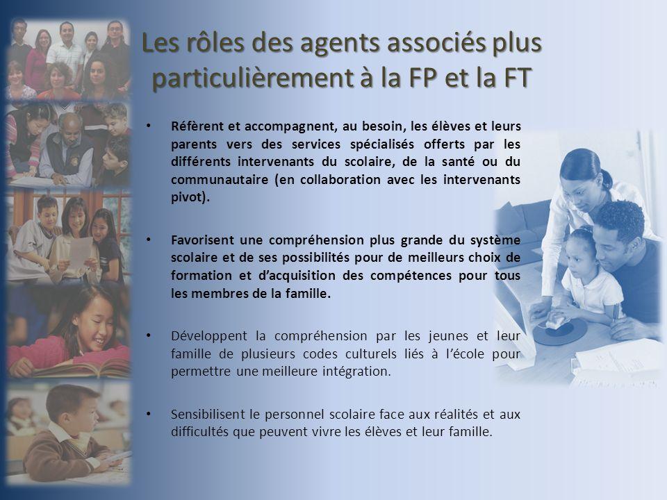 Les rôles des agents associés plus particulièrement à la FP et la FT Réfèrent et accompagnent, au besoin, les élèves et leurs parents vers des services spécialisés offerts par les différents intervenants du scolaire, de la santé ou du communautaire (en collaboration avec les intervenants pivot).
