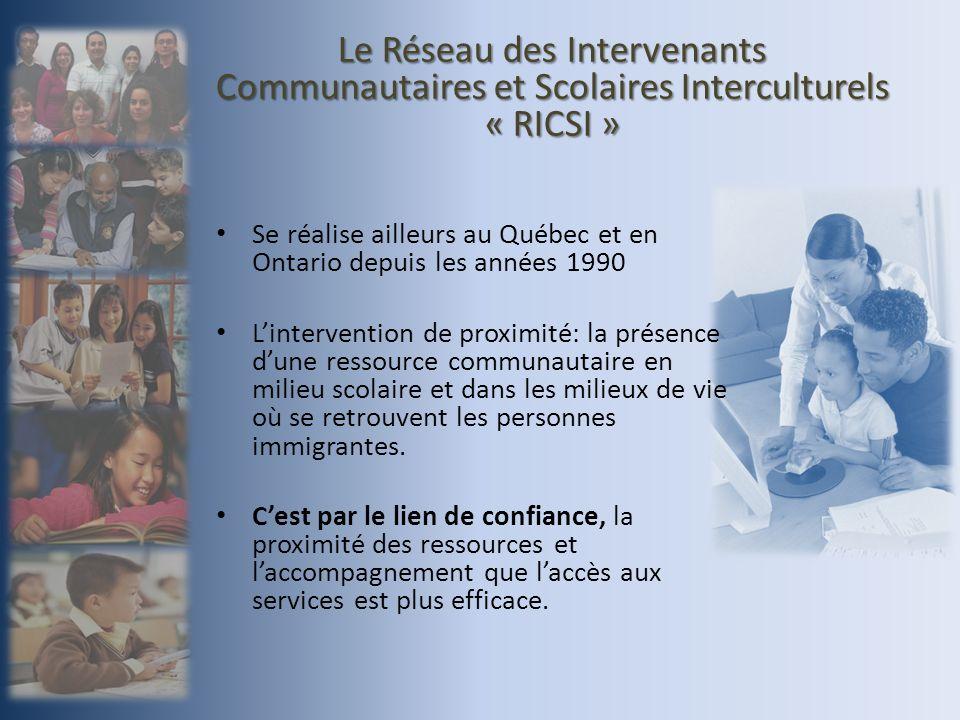 Le RICSI, un projet en deux volets: Cinq agents de liaison présents dans les écoles des commissions scolaires de la Capitale, des Découvreurs et des Premières-Seigneuries.