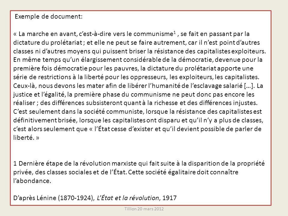 Exemple de document: « La marche en avant, cest-à-dire vers le communisme 1, se fait en passant par la dictature du prolétariat ; et elle ne peut se f