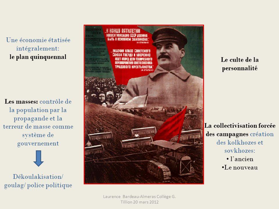 Le culte de la personnalité La collectivisation forcée des campagnes création des kolkhozes et sovkhozes: lancien Le nouveau Une économie étatisée int