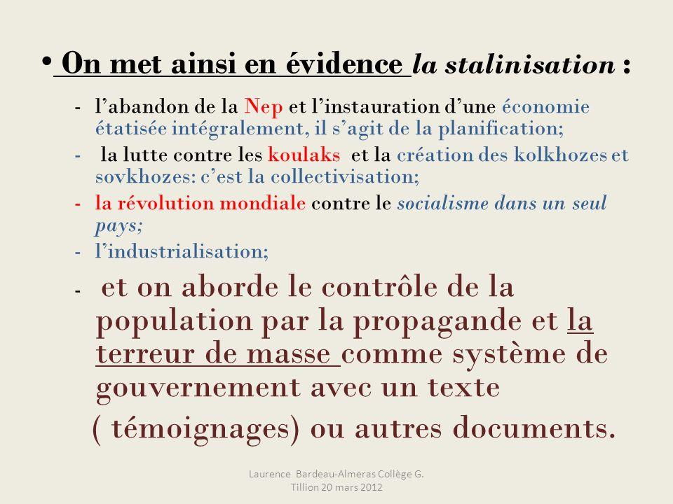 On met ainsi en évidence la stalinisation : -labandon de la Nep et linstauration dune économie étatisée intégralement, il sagit de la planification; -