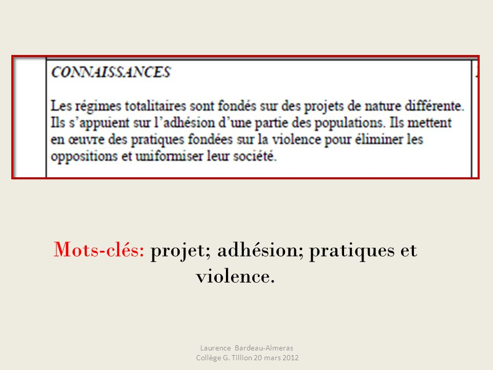 1. Analyse du thème Laurence Bardeau-Almeras Collège G. Tillion 20 mars 2012