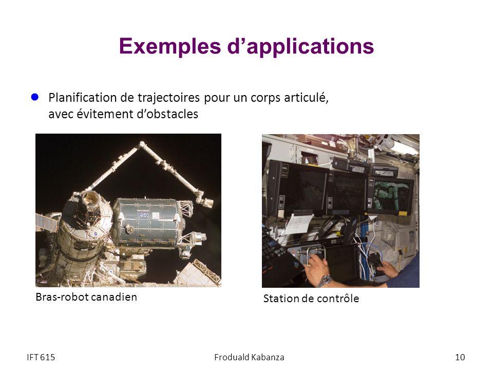 Exemples dapplications Planification de trajectoires pour un corps articulé, avec évitement dobstacles Station de contrôle Bras-robot canadien IFT 615