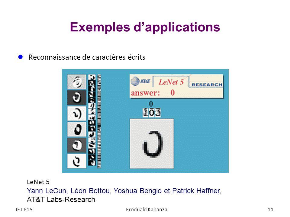 Exemples dapplications Reconnaissance de caractères écrits IFT 615Froduald Kabanza11 LeNet 5 Yann LeCun, Léon Bottou, Yoshua Bengio et Patrick Haffner
