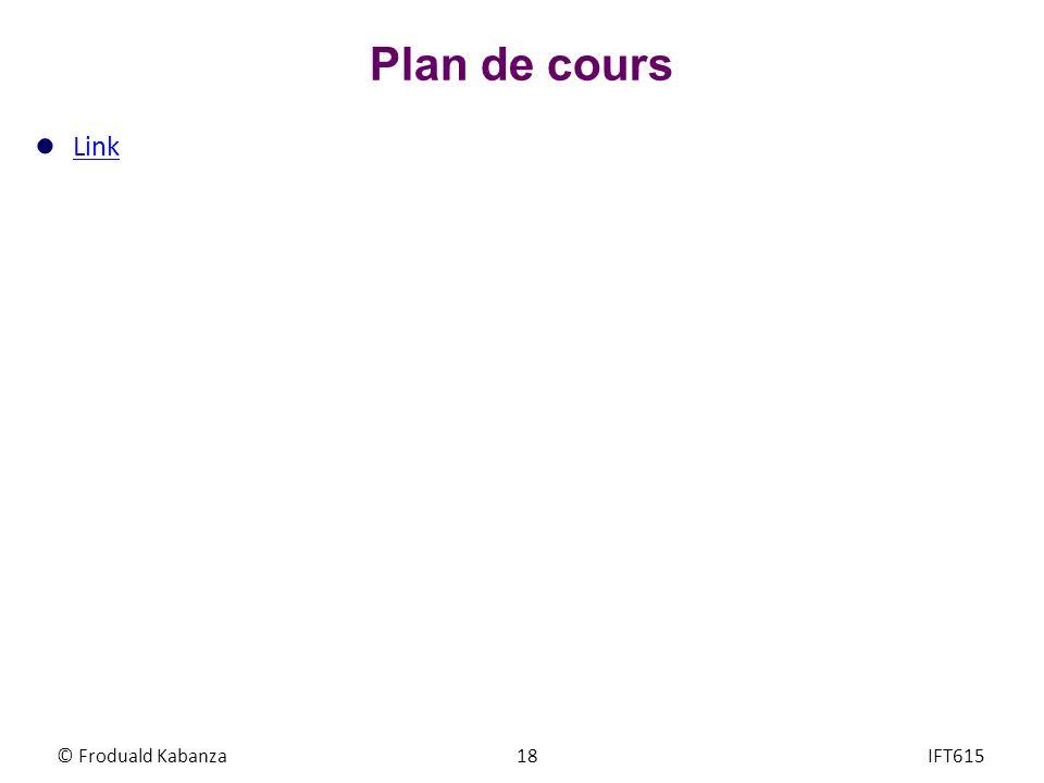 © Froduald Kabanza18IFT615 Plan de cours Link