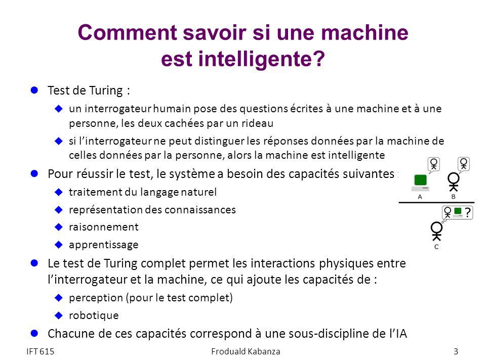 Comment savoir si une machine est intelligente? Test de Turing : un interrogateur humain pose des questions écrites à une machine et à une personne, l
