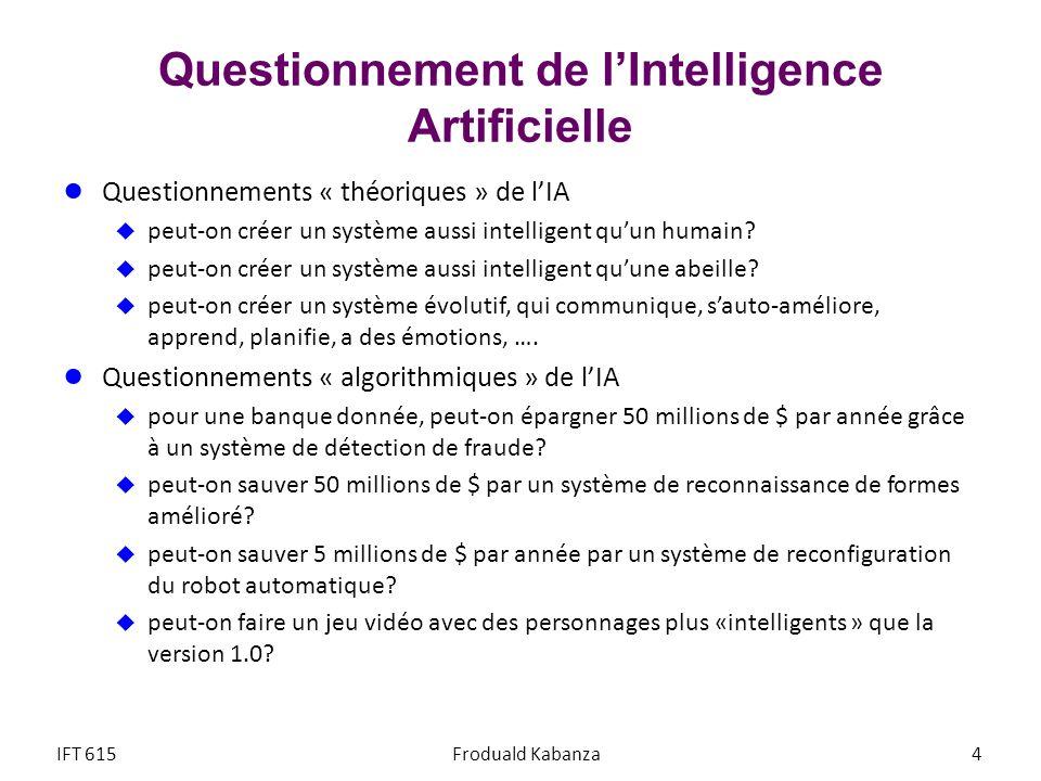Questionnement de lIntelligence Artificielle Questionnements « théoriques » de lIA peut-on créer un système aussi intelligent quun humain? peut-on cré