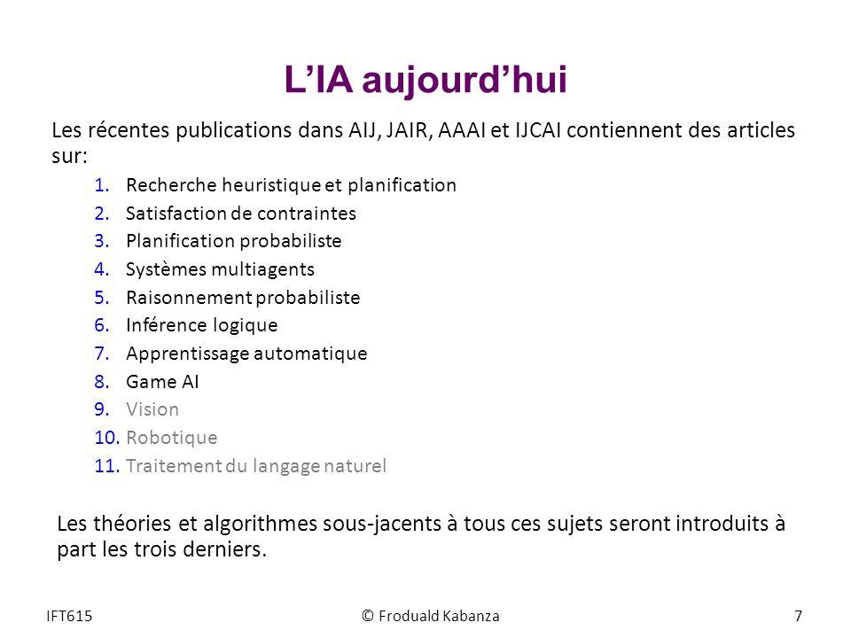 LIA aujourdhui Les récentes publications dans AIJ, JAIR, AAAI et IJCAI contiennent des articles sur: 1.Recherche heuristique et planification 2.Satisf