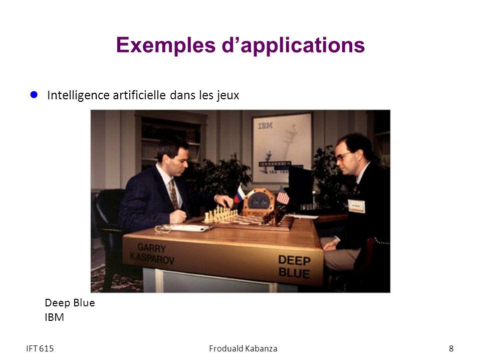 © Froduald Kabanza19IFT615 Prochain cours Agents intelligents Recherche heuristique