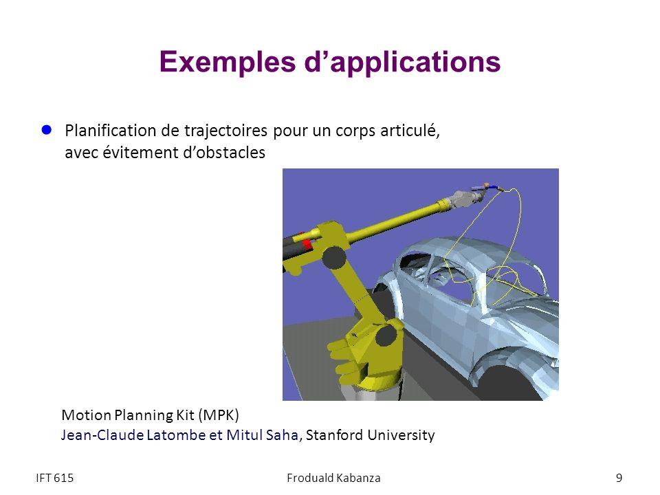 Exemples dapplications Planification de trajectoires pour un corps articulé, avec évitement dobstacles Station de contrôle Bras-robot canadien IFT 615Froduald Kabanza10