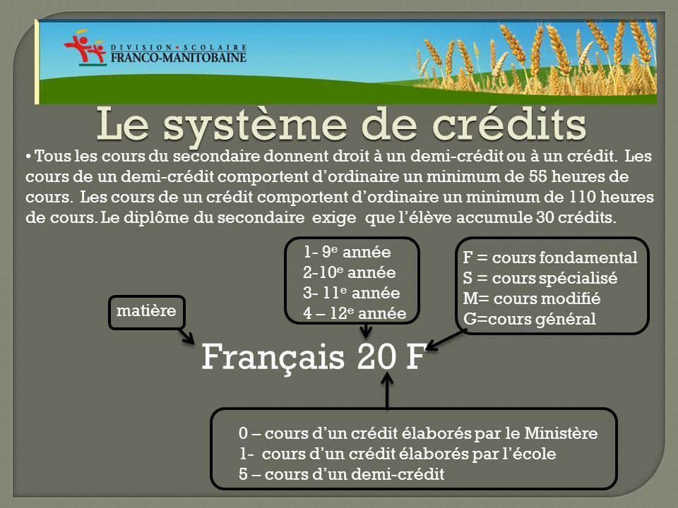 Le système de crédits Tous les cours du secondaire donnent droit à un demi-crédit ou à un crédit.