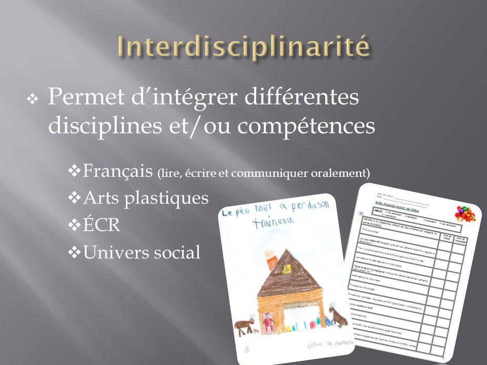 Permet dintégrer différentes disciplines et/ou compétences Français (lire, écrire et communiquer oralement) Arts plastiques ÉCR Univers social
