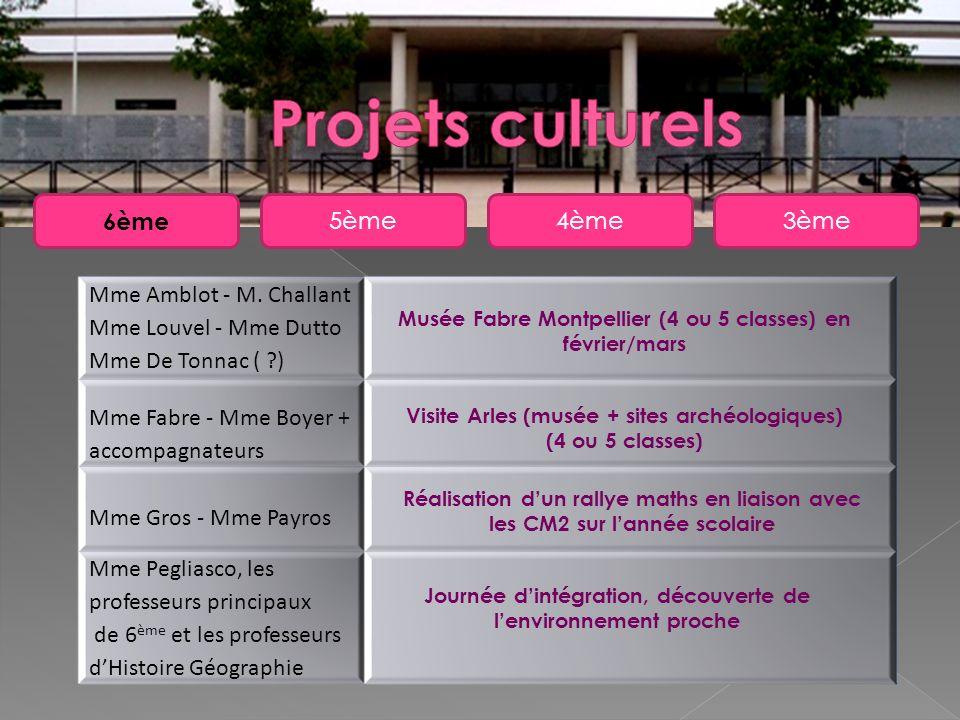 5ème 6ème 4ème3ème Mme Amblot - M. Challant Mme Louvel - Mme Dutto Mme De Tonnac ( ?) Mme Fabre - Mme Boyer + accompagnateurs Mme Gros - Mme Payros Mm