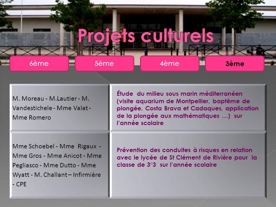 5ème6ème4ème 3ème M. Moreau - M.Lautier - M. Vandestichele - Mme Valat - Mme Romero Mme Schoebel - Mme Rigaux - Mme Gros - Mme Anicot - Mme Pegliasco