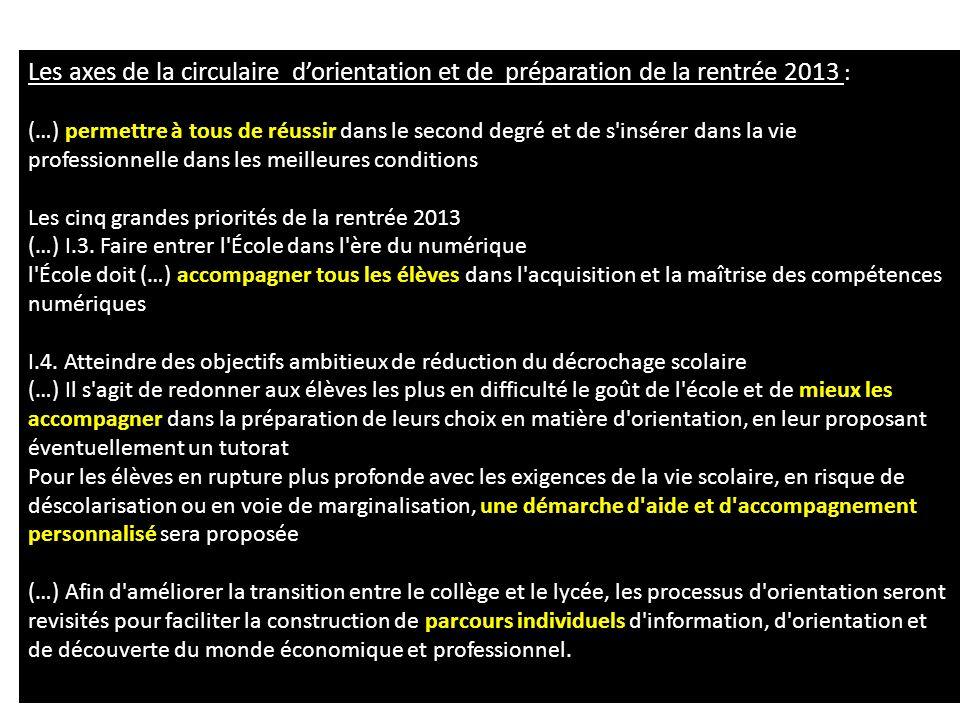 Les axes de la circulaire dorientation et de préparation de la rentrée 2013 : permettre à tous de réussir (…) permettre à tous de réussir dans le seco