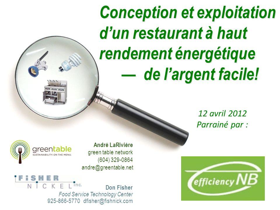 Conception et exploitation dun restaurant à haut rendement énergétique de largent facile.