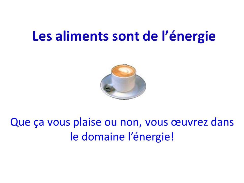 Les aliments sont de lénergie Que ça vous plaise ou non, vous œuvrez dans le domaine lénergie!