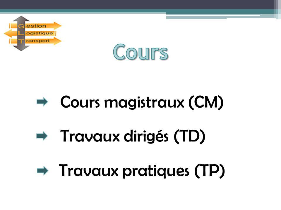 Cours magistraux (CM) Travaux dirigés (TD) Travaux pratiques (TP)