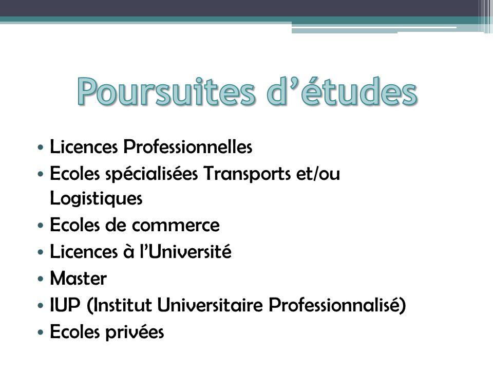 Licences Professionnelles Ecoles spécialisées Transports et/ou Logistiques Ecoles de commerce Licences à lUniversité Master IUP (Institut Universitaire Professionnalisé) Ecoles privées