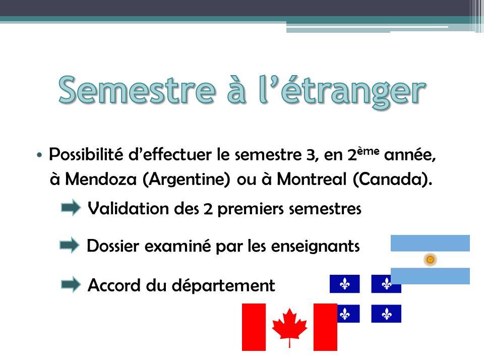 Possibilité deffectuer le semestre 3, en 2 ème année, à Mendoza (Argentine) ou à Montreal (Canada).