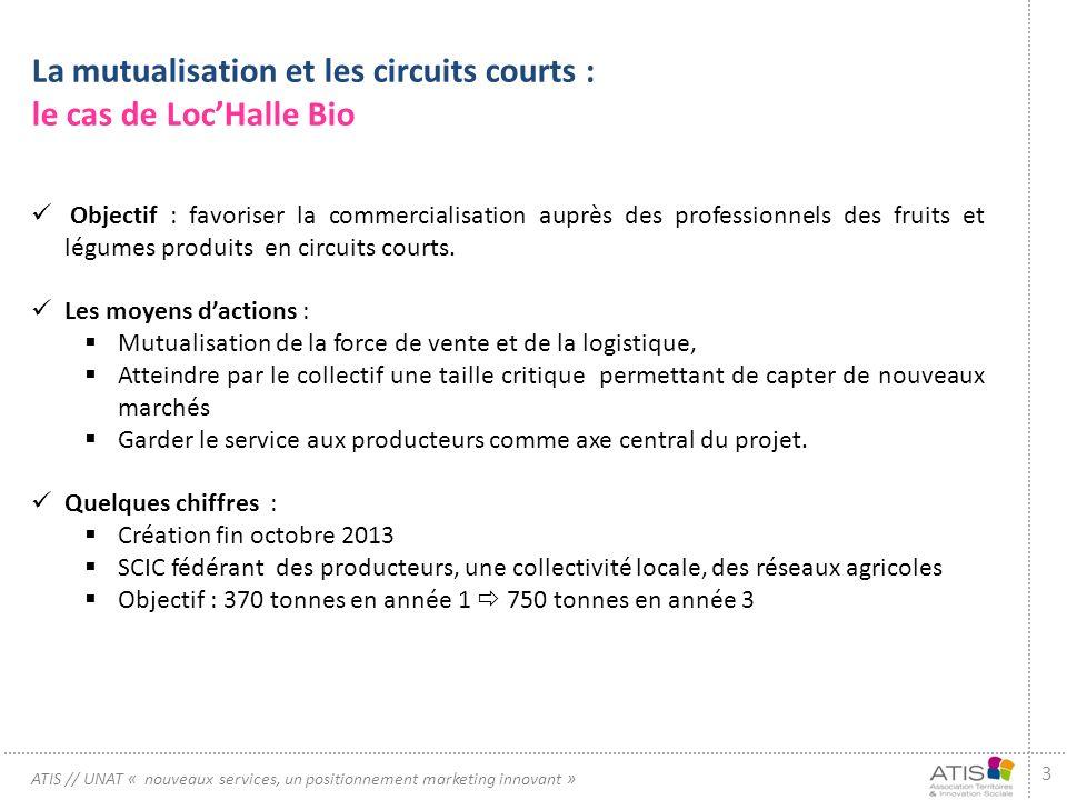 3 ATIS // UNAT « nouveaux services, un positionnement marketing innovant » La mutualisation et les circuits courts : le cas de LocHalle Bio Objectif : favoriser la commercialisation auprès des professionnels des fruits et légumes produits en circuits courts.