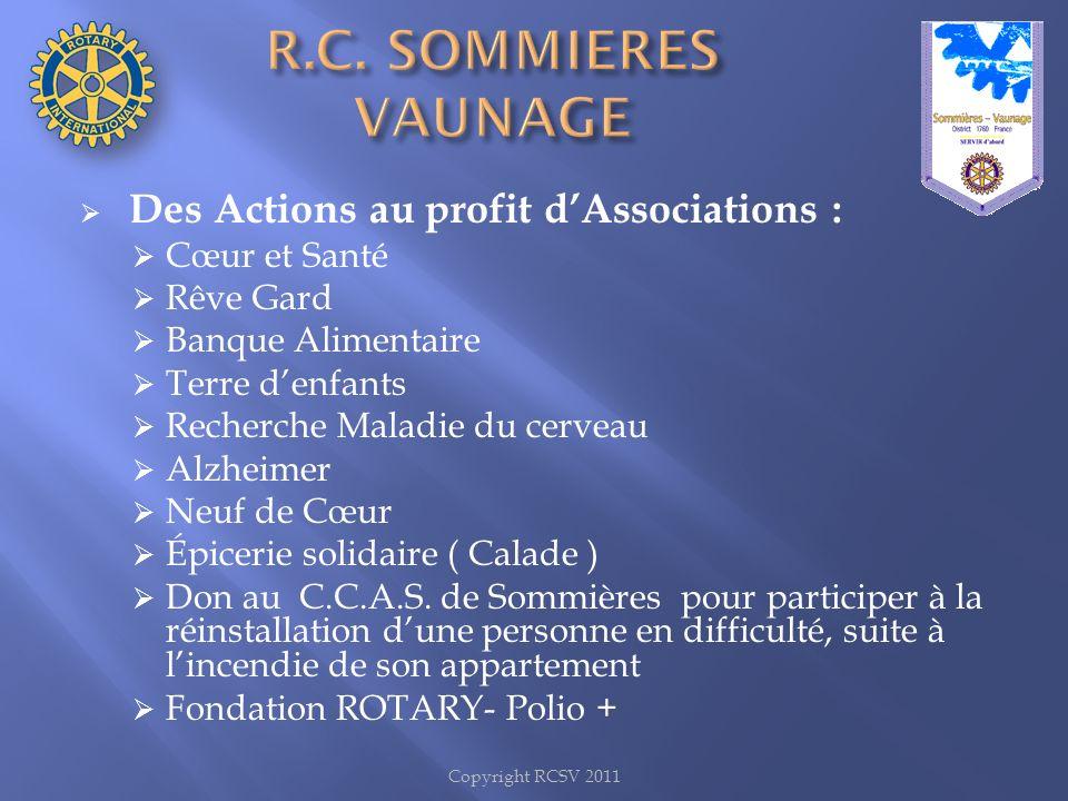 Copyright RCSV 2011 Des Actions au profit dAssociations : Cœur et Santé Rêve Gard Banque Alimentaire Terre denfants Recherche Maladie du cerveau Alzhe