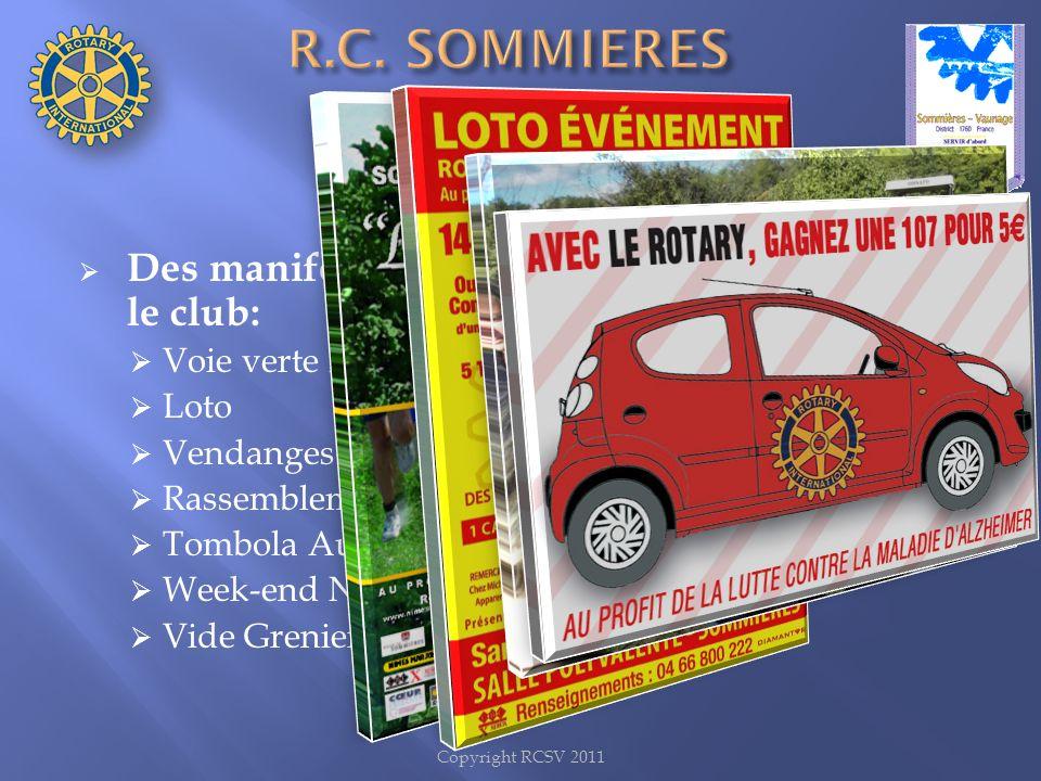 Des manifestations organisées ou initiées par le club: Voie verte Rotarienne Loto Vendanges Rotarienne Rassemblement Alpine Renault Tombola Auto Week-