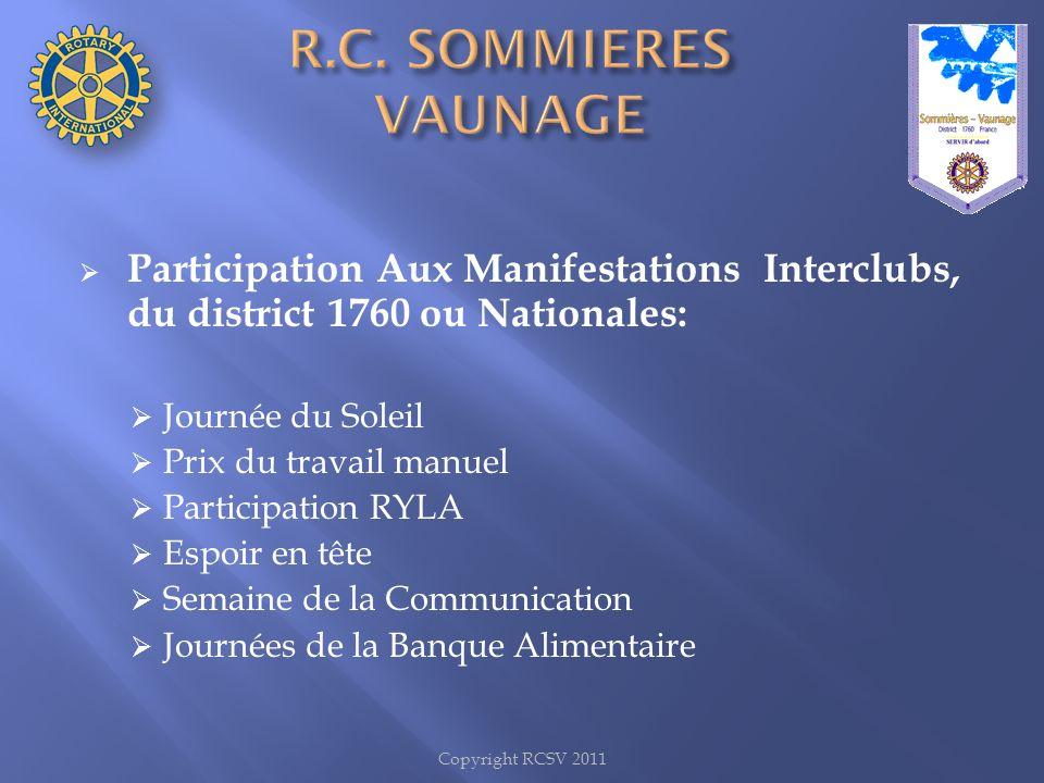 Copyright RCSV 2011 Participation Aux Manifestations Interclubs, du district 1760 ou Nationales: Journée du Soleil Prix du travail manuel Participatio