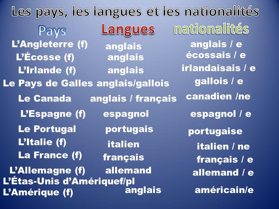 LAngleterre (f) LÉcosse (f) LIrlande (f) Le Pays de Galles Le Canada LEspagne (f) Le Portugal LItalie (f) La France (f) LAllemagne (f) anglais anglais