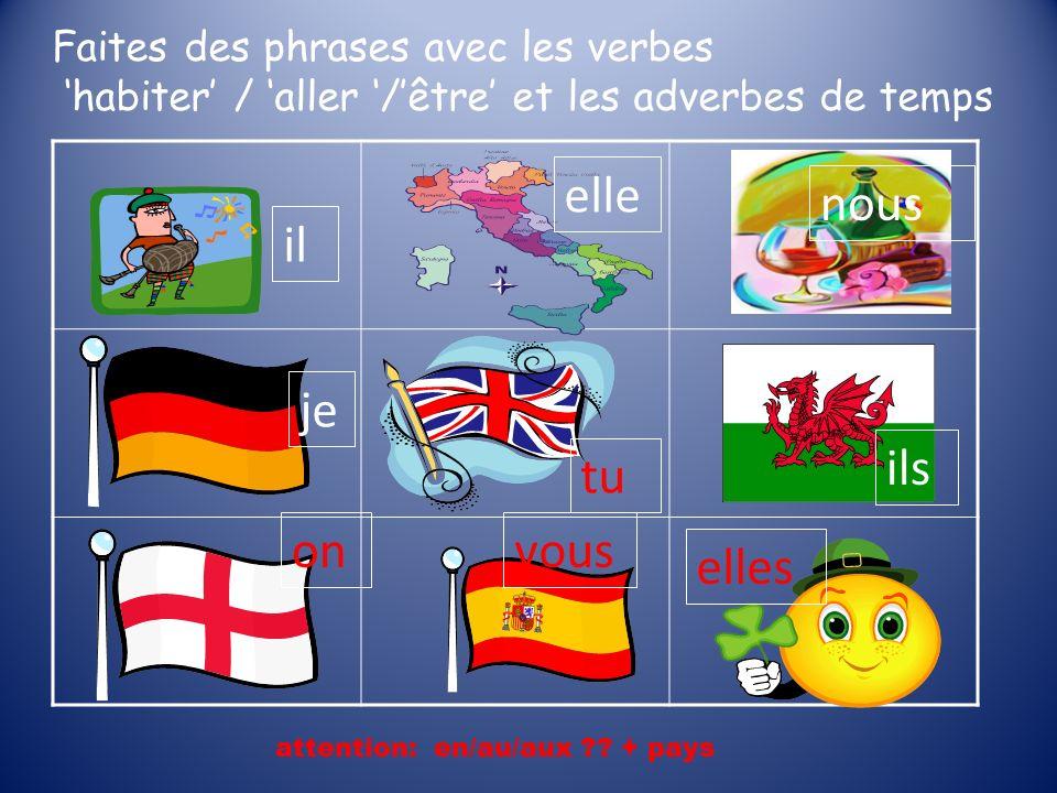 Faites des phrases avec les verbes habiter / aller /être et les adverbes de temps attention: en/au/aux ?? + pays il elle nous je tu ils onvous elles
